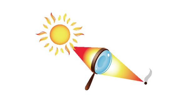 虫めがねで太陽の光を1点に集中させて紙を焦がす実験